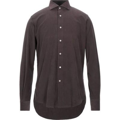 トラサルディ TRUSSARDI メンズ シャツ トップス Solid Color Shirt Dark brown