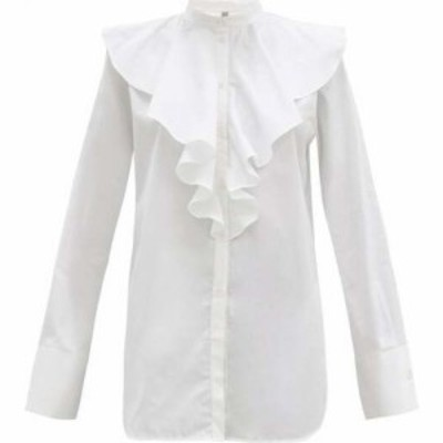 トーテム Toteme レディース ブラウス・シャツ トップス Ruffled cotton-poplin shirt White