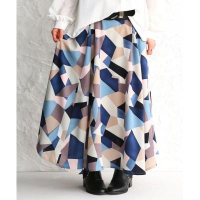 【オシャレウォーカー】 『幾何学柄プリントフレアスカート』 レディース ブルー フリーサイズ osharewalker