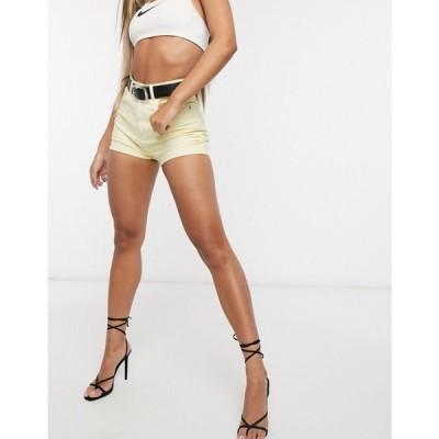 エイソス ASOS DESIGN レディース ショートパンツ デニム ボトムス・パンツ denim high rise vintage fit shorts in lemon イエロー