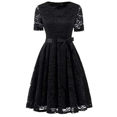 Dresstell(ドレステル) 結婚式ドレス パーティー ワンピース レース 半袖 ひざ丈 二次会 お呼ばれ 発表会 (ブラック S)