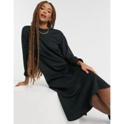ニュールック レディース ワンピース トップス New Look flute hem sweatshirt midi dress in black Black