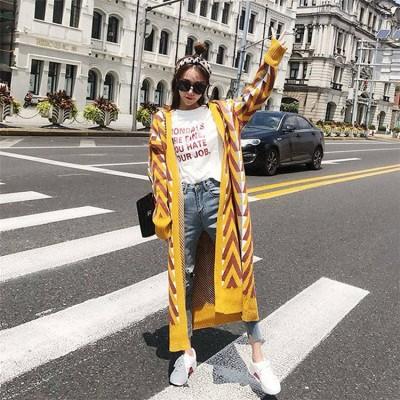 [55555SHOP]新しい女性の気質は ニットカーディガン お洒落なオフィススタイル 普段着 通勤 早秋のニット セーター カレッジ風 可愛い 明るい色 ロング丈 ニット コート