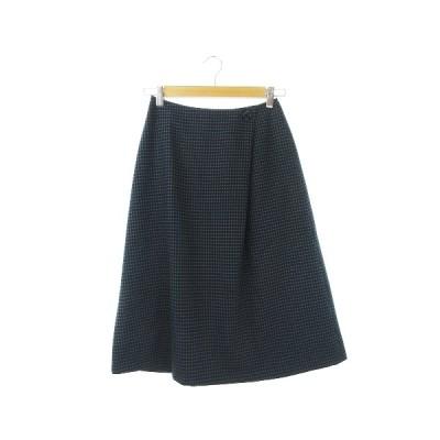 【中古】ナチュラルビューティーベーシック NATURAL BEAUTY BASIC スカート フレア ミモレ ロング チェック S 紺 ネイビー /CK11 レディース 【ベクトル 古着】