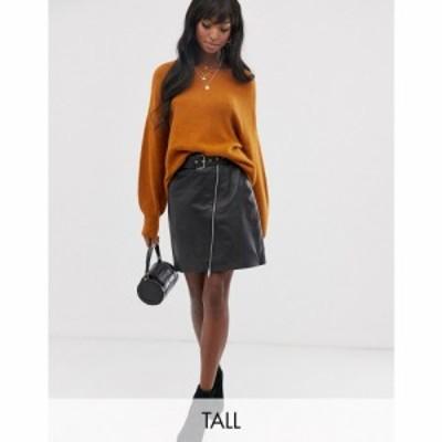 ワイ エー エス Y.A.S Tall レディース スカート belted leather skirt ブラック
