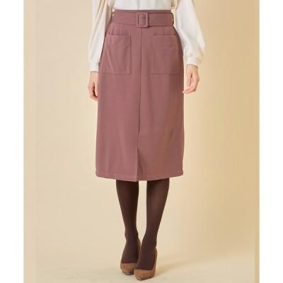 スカート ベルト付きポケットタイトスカート