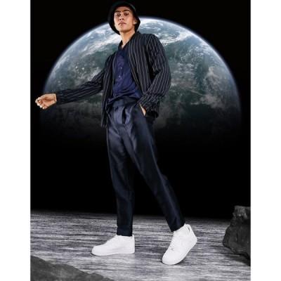 エイソス ASOS DESIGN メンズ ボトムス・パンツ tapered smart trousers in blueberry sateen