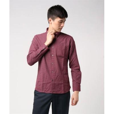 LB/S / 【BLUE STANDARD】ネルプリントシャツ 小紋柄 レトロ 幾何学柄 ボタンダウン MEN トップス > シャツ/ブラウス
