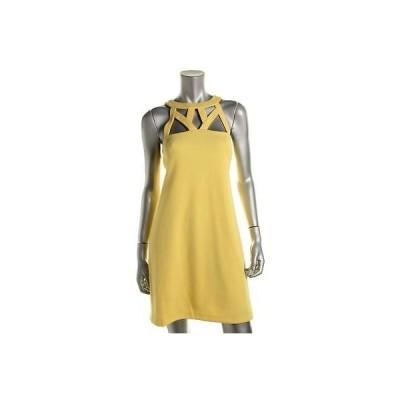 インク ドレス ワンピース INC 5031 レディース イエロー Caged Halter ミニ Party ドレス M BHFO