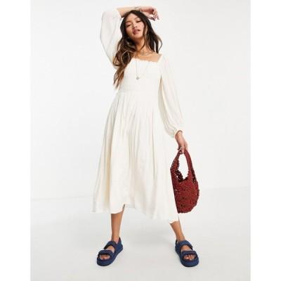 ワイ エー エス Y.A.S レディース ワンピース ワンピース・ドレス shirred jaquard spot dress in cream クリーム