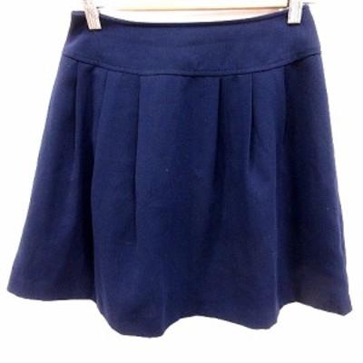 【中古】ナチュラルビューティーベーシック NATURAL BEAUTY BASIC スカート フレア ミニ XS 紺 レディース