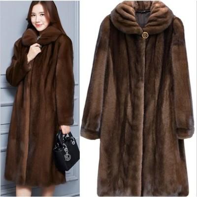 ロング丈 毛皮コート ふわふわ 体型カバー ゆったり もこもこ 優雅 大きいサイズ 上着  ファッション ファー   フェイクファー防風 上品 大人
