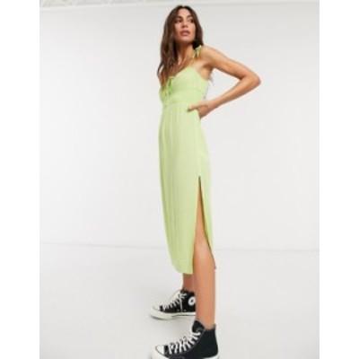 トップショップ レディース ワンピース トップス Topshop front ruche midi dress in lime Lime/citrus