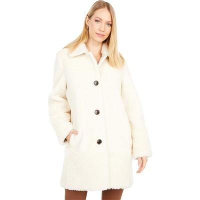 ケイト スペード Kate Spade New York レディース コート アウター Faux Fur & Shearling Button Front Coat Cream