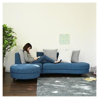 カウチソファ ソファ sofa 3人掛け 開梱設置無料 ファブリック カフェ風 丸形 代引不可