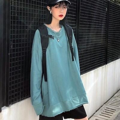 韓国 カップル Tシャツ 長袖 ストリート風 ダーク系 ファッション レディース カップル服 ダンス