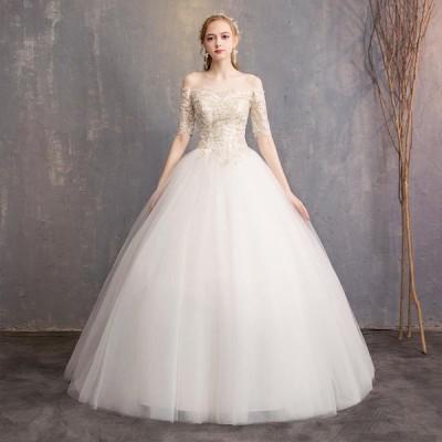 ウエディングドレス 編み上げ レディース プリンセスドレス 白い 前撮り ドレス ブライダルドレス ホワイト 花嫁 Aライン ロング丈 演奏会 ドレス