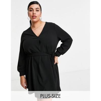 ヴェロモーダ ドレス 大きいサイズ レディース Vero Moda Curve belted mini dress with v neck in black エイソス ASOS ブラック 黒