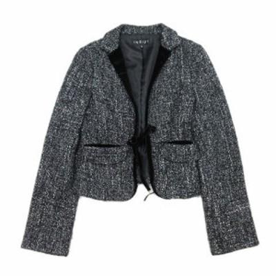 【中古】インディヴィ INDIVI 変形テーラードジャケット ベロア ツイード リボン ブルゾン コート 38 黒 ブラック 白