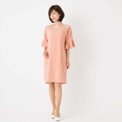 ワンピース フォーマル 結婚式 二次会 ひざ丈 膝丈 5分袖 イブニングドレス お呼ばれ パーティー 韓国ピンクLサイズ