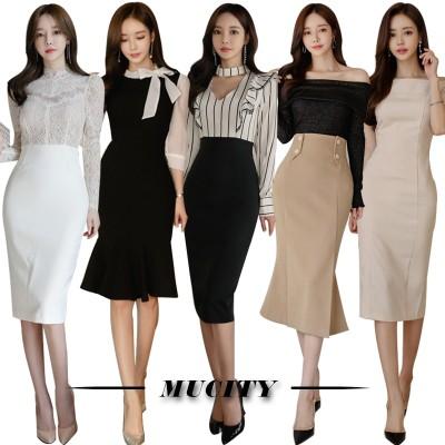 新作入荷2021【3+1枚  5+2枚】3枚送料無料 高品質ワンピースドレス韓国ファッションOL正式な場合礼装ドレスセクシーなワンピース一字肩二点セット