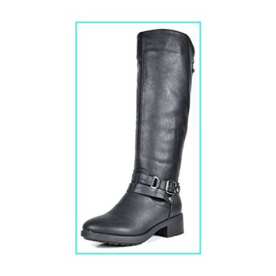 【新品】DREAM PAIRS Women's Uncle Black Knee High Motorcycle Riding Winter Boots Size 5.5 M US(並行輸入品)