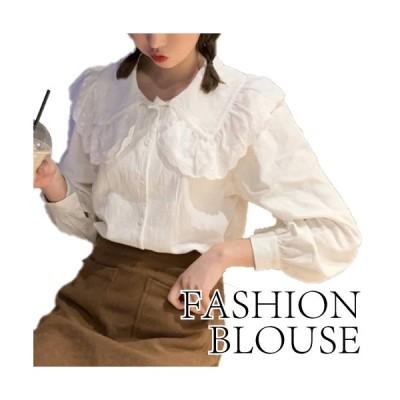 ブラウス トップス 長袖 フリル 襟付き シンプル かわいい ざっくり カジュアル レディース ホワイト フリーサイズ