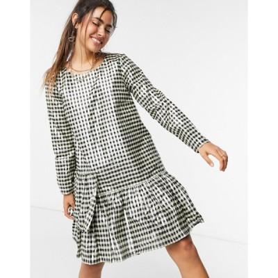 ジャストフィメール ミディドレス レディース Just Female Petrina metallic check mini dress in multi  エイソス ASOS sale