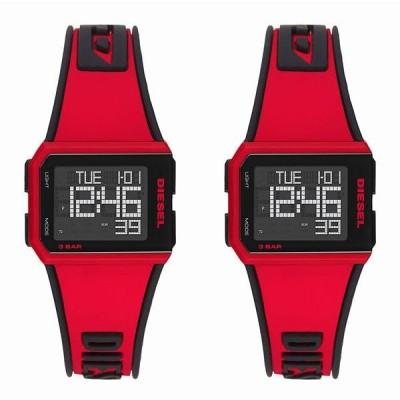 ディーゼル ペアウォッチ メンズ レディース 男女兼用 Chopped デジタル クロノグラフ レッド ブラック シリコンラバー DZ1923DZ1923 あすつく 腕時計