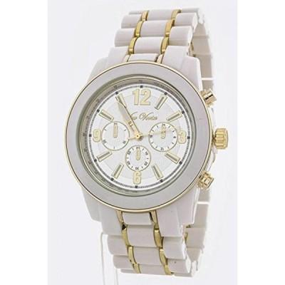 シックチェルシー 腕時計 レディースウォッチ Chic Chelsea 2 Tone Tortoise Bracelet Fashion Watch (White)