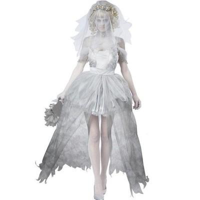 ハロウィン衣装  コスプレ 大人用 コスチューム パーティー 女性 ホラー 怖い系 個性的 鬼の花嫁 ゾンビ 吸血鬼 魔女 悪魔衣装 ヴァンパイア 女性用 白い