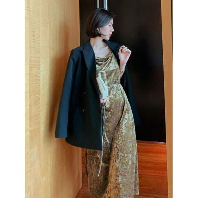 秋冬 ドレス ロングドレス ワンピース キャミワンピ ベロア ベルベット 花柄 ミモレ丈 ノースリーブ