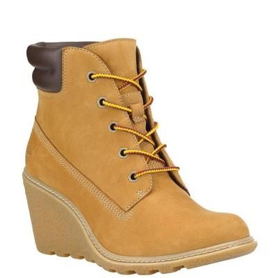 ティンバーランド レディース ブーツ・レインブーツ シューズ Amston Wedge Suede Leather Booties