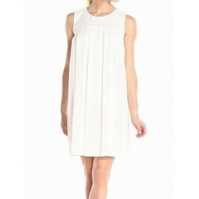 Donna Morgan ドナモーガン ファッション ドレス Donna Morgan NEW White Womens Size 10 Pleated Woven Shift Dress