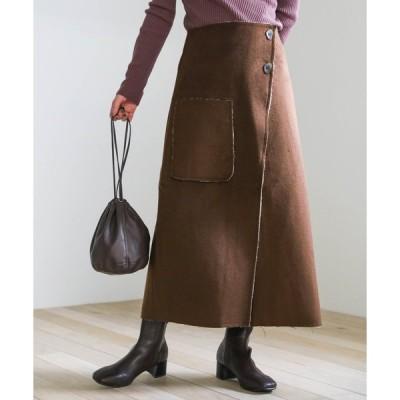 スカート 2020 A/W ラップタイトスカート/ボタンデザインスウェードタッチスカート/ポケットデザインスウェードタッチスカート