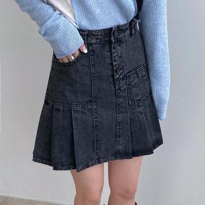 VANILLAMILK レディース スカート Rodem pleated mini denim skirt
