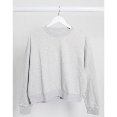ウィークデイ Weekday レディース スウェット・トレーナー トップス Huge Oversized Cropped Sweatshirt In Light Grey Melange ライトグレーメランジ