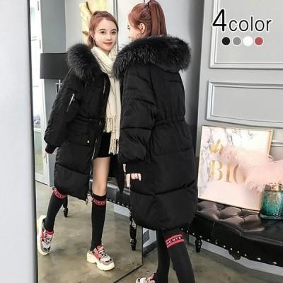 中綿ダウンコート中綿コートロングコート中綿ジャケット膝下丈ファーフードあったか冬新品大きいサイズ4色選択できる