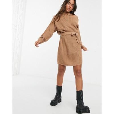 アックスパリ レディース ワンピース トップス AX Paris cut out shoulder sweater dress in camel