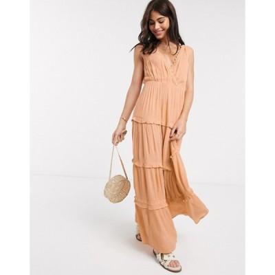 エイソス レディース ワンピース トップス ASOS DESIGN sleeveless tiered crinkle maxi dress with lace inserts in peach
