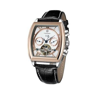(新品) Forsining Men's Automatic Analog Complete Calendar Tonneau Shape Stylish Watch with Leather Strap