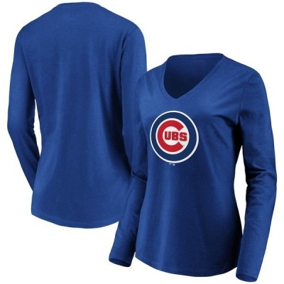 ファナティクス ブランデッド レディース Tシャツ トップス Chicago Cubs Fanatics Branded Women's Official Logo Long Sleeve V-Neck T-Shirt
