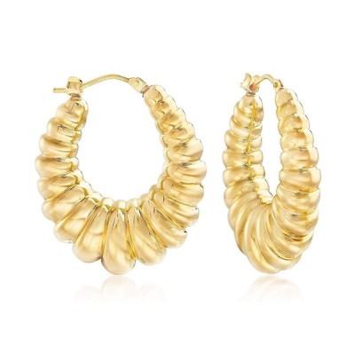 Ross-Simons Italian Andiamo 14kt Yellow Gold Ribbed Hoop Earrings