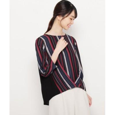 smart pink/スマート ピンク 【手洗い可】オータムマルチストライプシャツ ブラック(319) 40(M/ミセス)