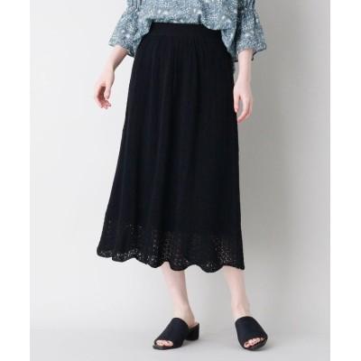 LAURA ASHLEY(ローラアシュレイ) 麻混スカラップ透かし編みニットスカート