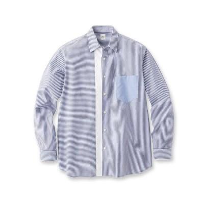 TAKEO KIKUCHI(タケオキクチ)【Sサイズ〜】ストライプブロッキングシャツ