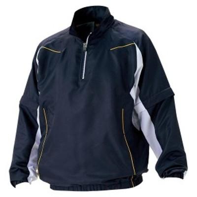 ゼット 野球 ソフト 長袖/半袖切り替え式ハーフジップジャンパー 16SS ネイビー/ホワイト ウインドウェア(bov515-2911)