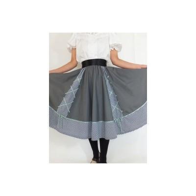 フォークダンス衣装◆ギンガムチェック+グログランテープサーキュラースカート15