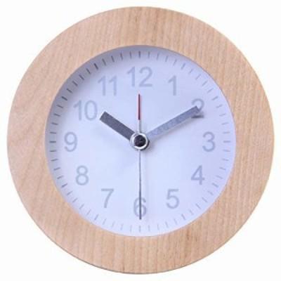 不二貿易 置き時計 直径10.2cm ホワイト 天然木 ラウンド ウッド 36700