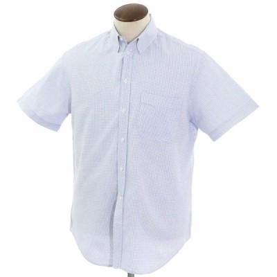 アルマーニコレツィオーニ ARMANI COLLEZIONI コットン スナップダウン 半袖シャツ ホワイト×サックス×ネイビー 41